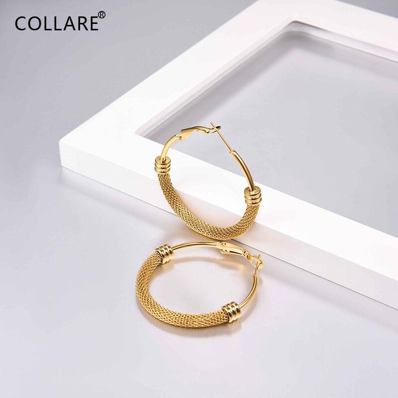 Женские серьги-кольца Collare, золотые/черные сетчатые Обручи из нержавеющей стали 316L, модные ювелирные изделия E036