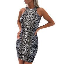 DUOUPA 2009 Hot-selling New Snake-print Sexy Buttock-wrapped Sleeveless Bottom Dresses Womens