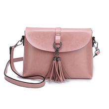 цена на Women Tassel Messenger Bag Oil Wax Cow Leather Shoulder Bags Brand Women Handbag 2019 Simple Genuine Leather Small Crossbody Bag