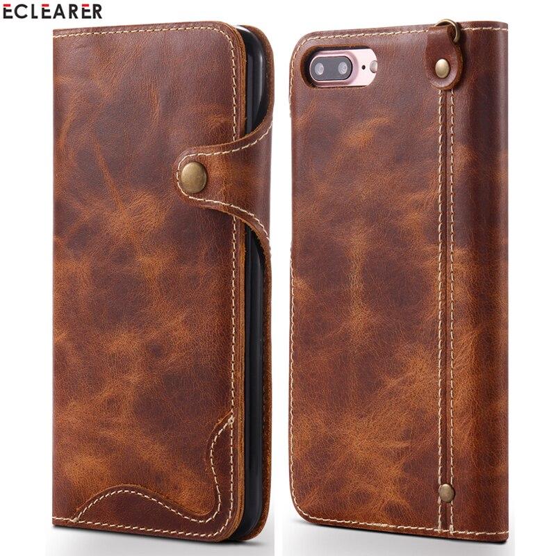 1c3d35cdcba Cheap Funda billetera de cuero genuino duradero para iPhone 8 7/8 7 Plus  Retro