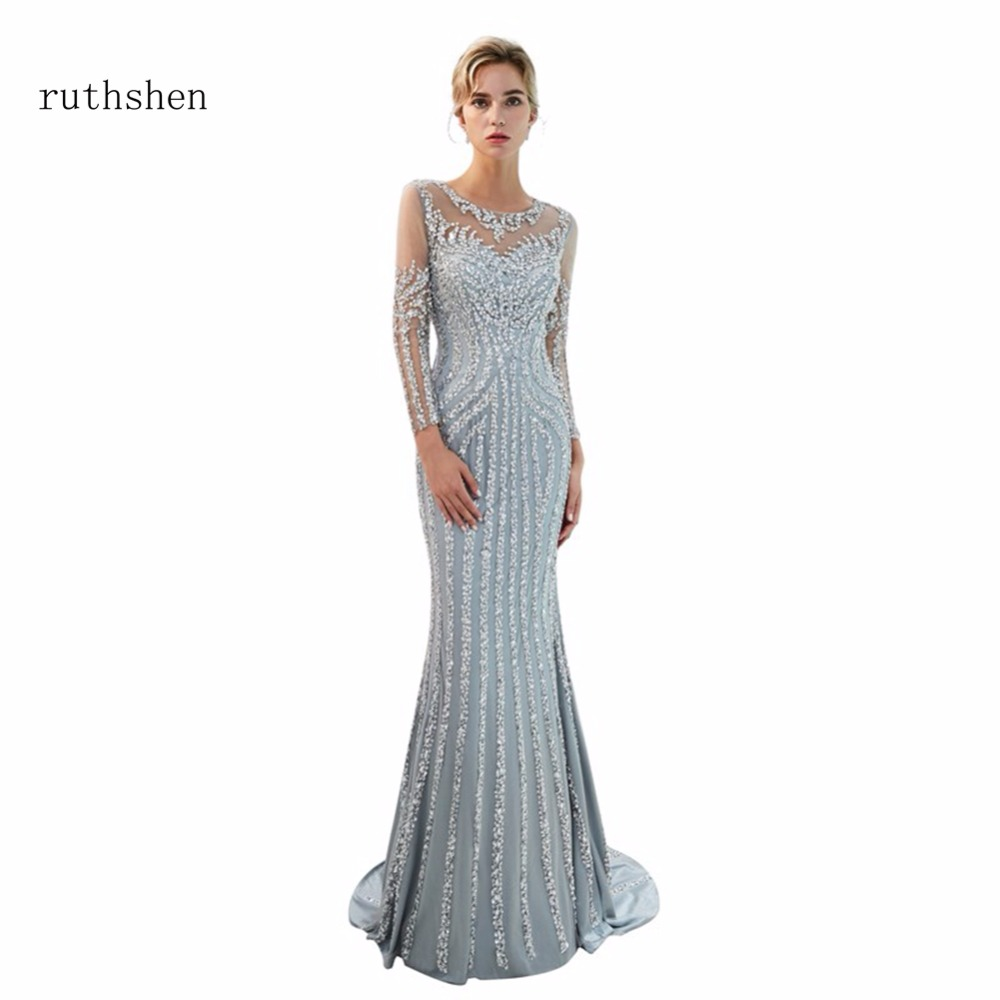 Ruthshen De Luxe Robes De Bal Longues Robes De Soirée Avec Des Perles Manches Robes De Soirée Formelles En Stock Robe De Soirée 2018 Nouveaute