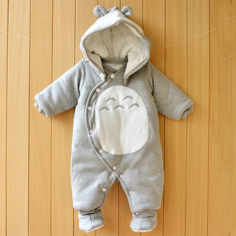 Clothes Newborn Baby Cotton One-piece Thick Hooded Baby Warm Autumn And Winter Clothes Romper Animal Style Totoro Penguin