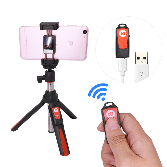 3 in 1 Self-portrait Monopod Phone Selfie Stick w Bluetooth Remote Shutter
