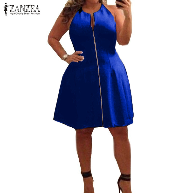 ZANZEA 2018 Summer Women Sexy V Neck A-line Dress Casual Sleeveless Zipper Solid Oversized Knee Length Dress Vestidos Plus Size