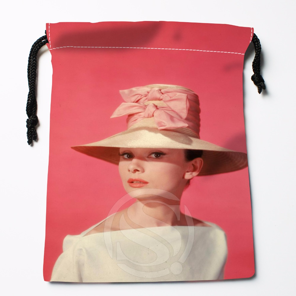 Fl-Q2 New Audrey Hepburn Custom Logo Printed  Receive Bag  Bag Compression Type Drawstring Bags Size 18X22cm 71-81#f2