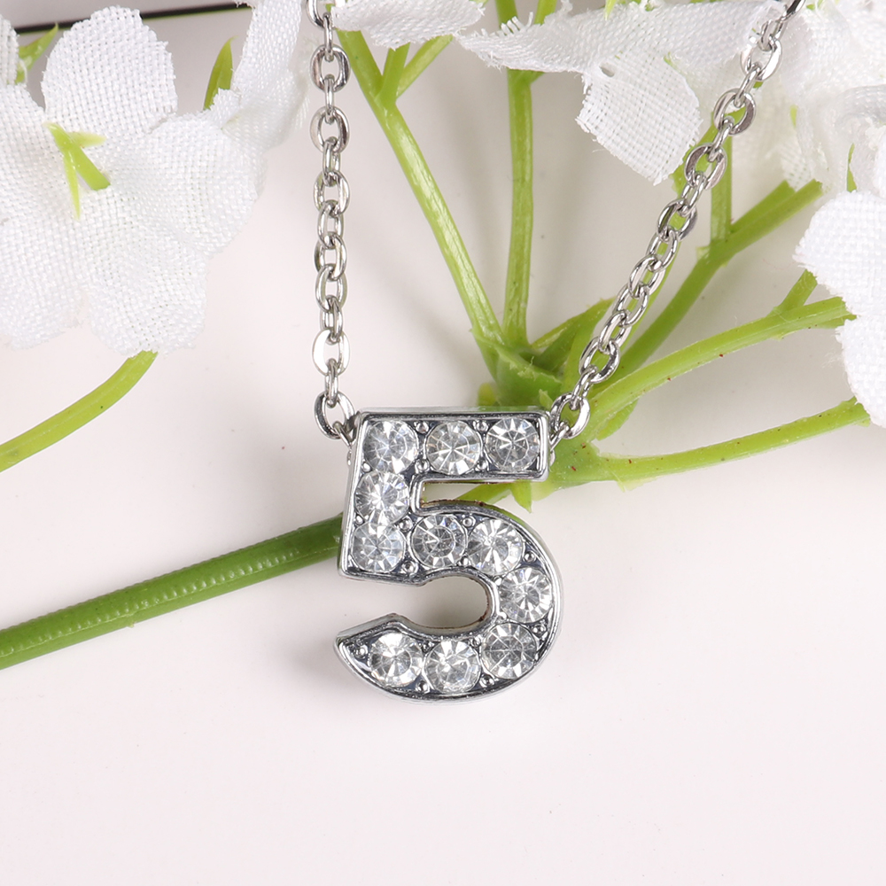 Zircon Silver Numer 5 Fashion Roman Digital Necklace Women