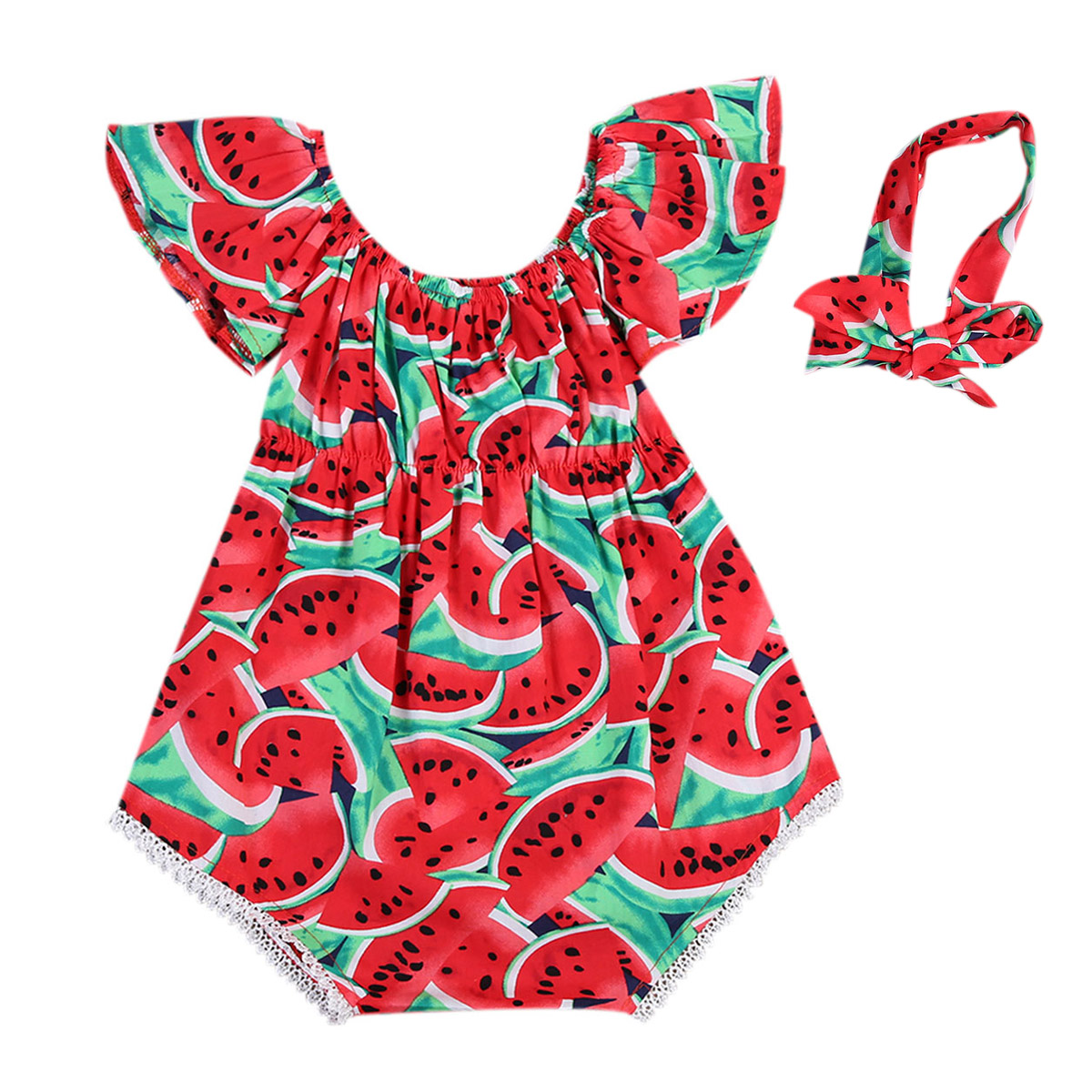 2pcs/set Lovely Newborn Baby Girls Watermelon Print Cotton Short Butterfly Sleeves Romper + Headband Kids Outfits Clothes Set