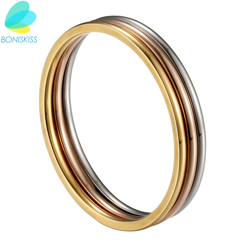 Boniskiss 1 MM Thin Stainless Steel Three Color Women Ring Simple Fashion Rose Gold/Silver/Gold Finger Rings For Women jewelry