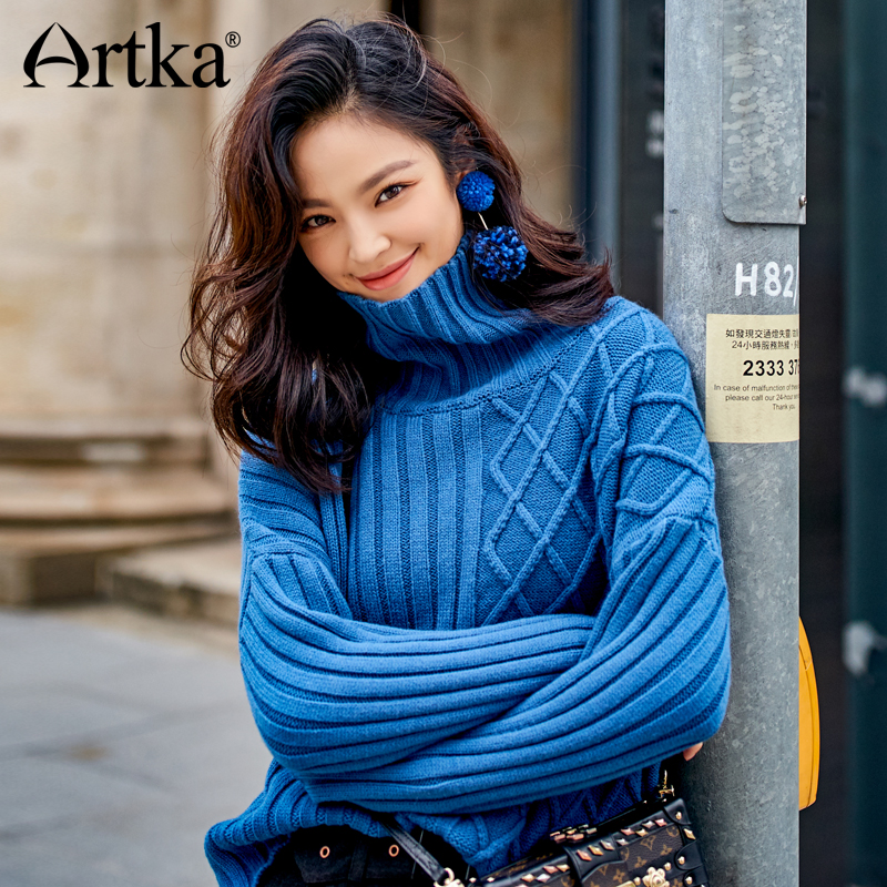Artka Irregular Turtle Neck Pullover Knitwear Sweater JS17021