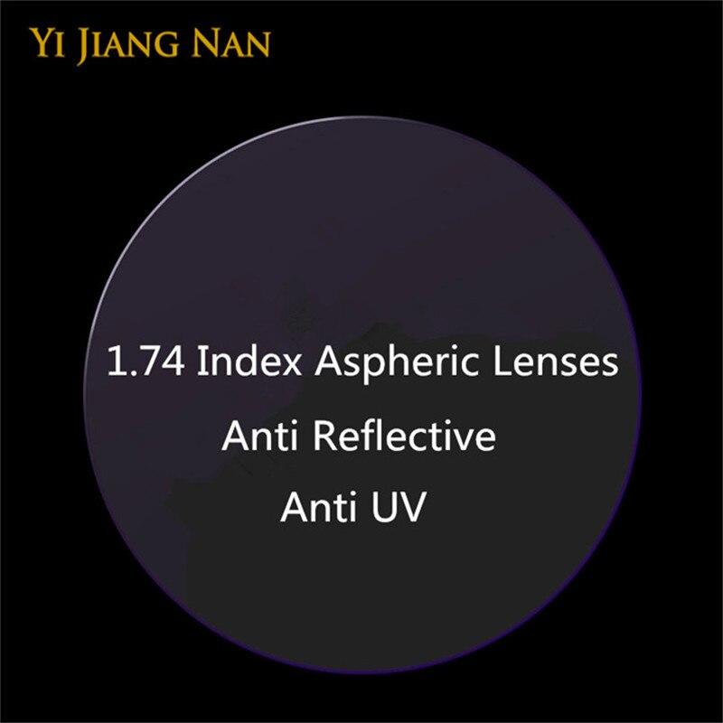 Marque 1.74 indice Anti UV Anti réflexion myopie Prescription Ultra mince CR39 lentilles vue lointaine optique recette lentille