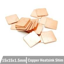 300pcs Copper Shim Pad Heatsink Cooling Laptop VGA 15*15*1.5mm Free Shipping
