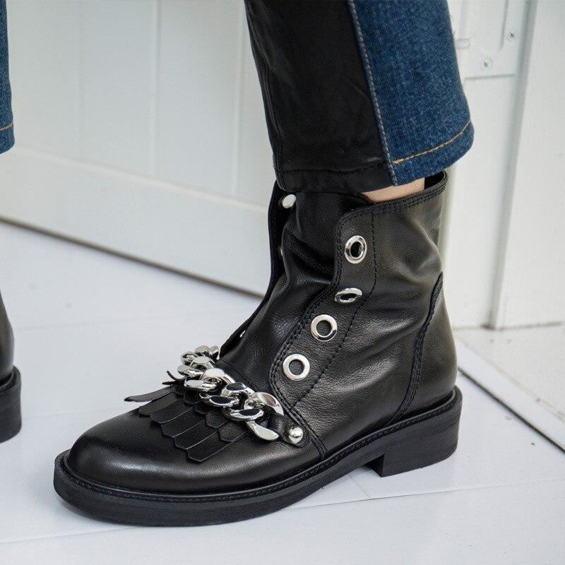 Courtes Cheville Bottines Appartements Fringe Cuir En Bottes Carré Talon Femmes Chaussures Mode Noires Rond Bout Noir Chaînes Tassel Argent Martin EqTwpa