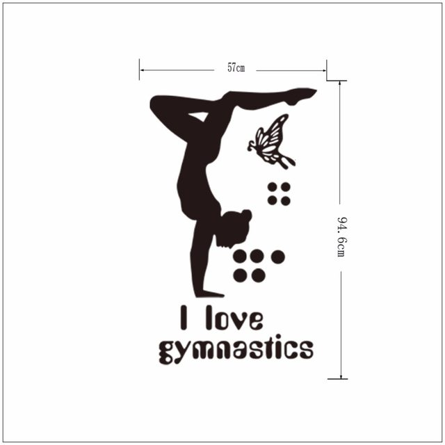 I Love Gymnastics Vinyl Wall Decal Girls Room Decor Diy Art Mural Wallpaper Removable Stickers
