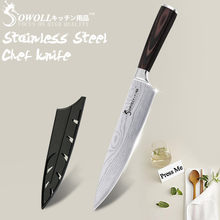 Kitchen Knife Chef Knives 8 inch Japanese 440C High Carbon 7CR17 Stainless Steel Sanding Laser Pattern Vegetable Santoku Knife(China)