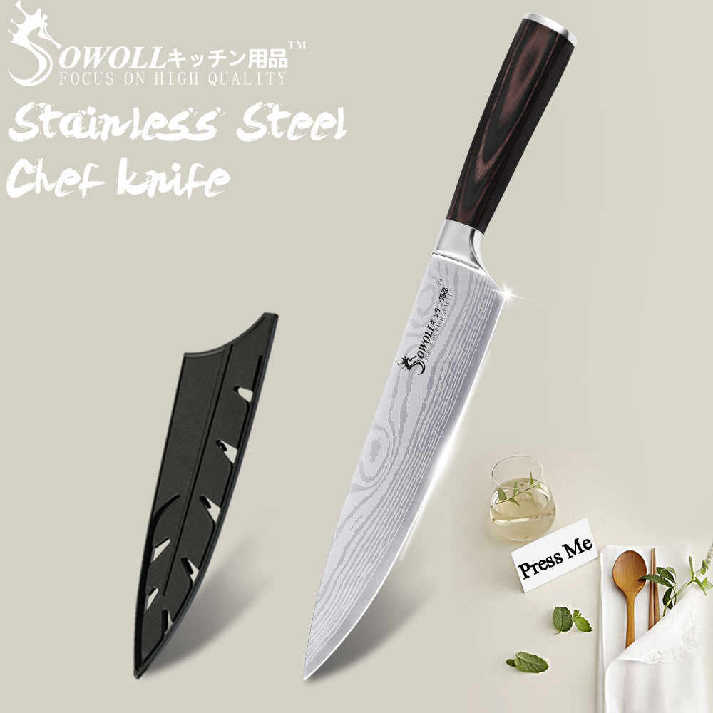 Kitchen Knife Chef Knives 8 inch Japanese 440C High Carbon 7CR17 Stainless Steel Sanding Laser Pattern Vegetable Santoku Knife