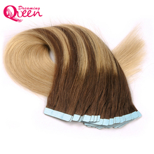 Dreaming Queen Hair Tape In Remy Hair Extensions #4/18/4/18 Color Straight 100% Brazilian Human Hair 50g 20pcs/Set Skin Weft