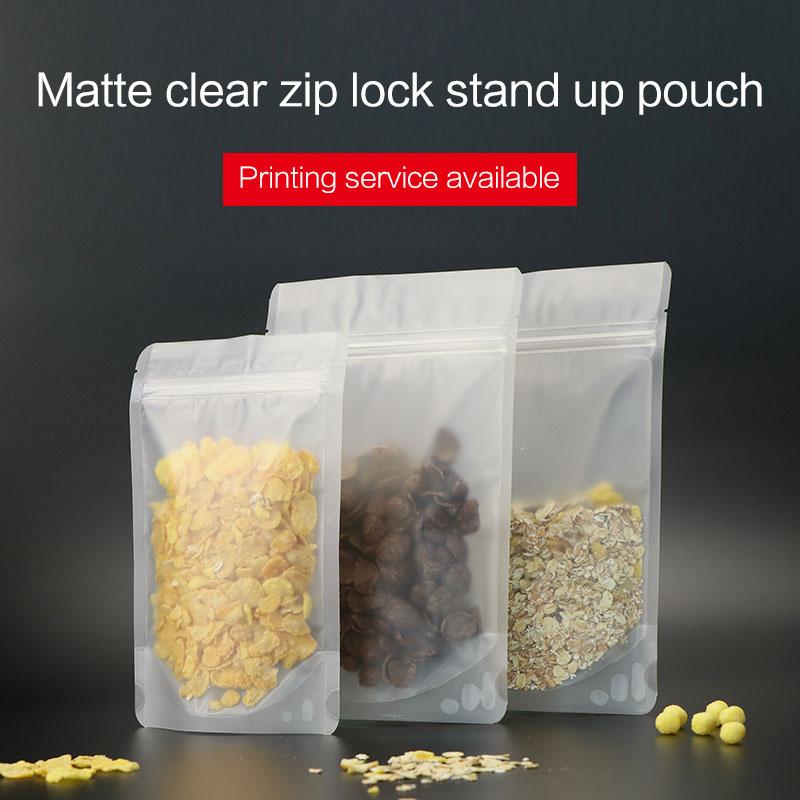 ماتي الحقيبة الوقوف واضحة مع سحاب كيس من البلاستيك مغلفة قفل الرمز البريدي الأغلاق متجمد أكياس تغليف المواد الغذائية السطح