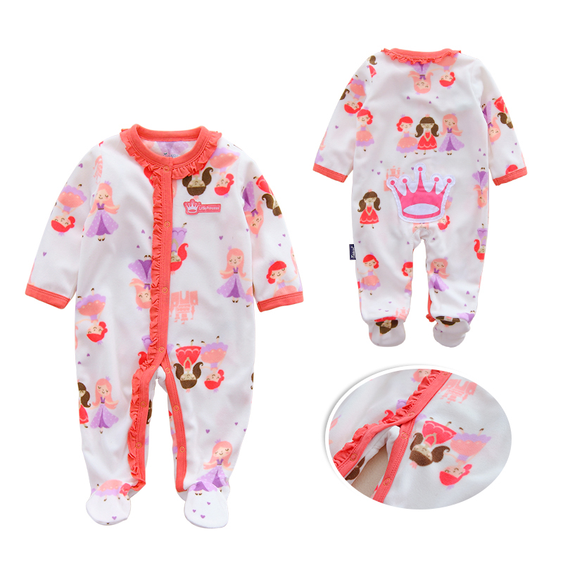 0 12M Autumn Fleece Baby Rompers Cute Cartoon Clothing Set for Baby Boys Infant Baby Girls Clothes Jumpsuits Foot Coveralls in Rompers from Mother Kids