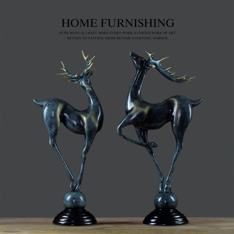 Home Furnishing American Resin Set Elk Decoration Creative Home Window Decoration Living Room Bedroom Porcelain Handicraft