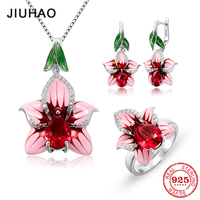2018 jewelry sets 925 Sterling Silver enamel flower Pink Charming CZ Stones Ring Earings fashion set Necklaces for Woman Gift
