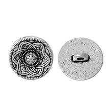 Metal Buttons Fit Scrapbooking Pattern Carved Silver Tone Round For Clothes DIY Sewing Accessories 15 mm 50 pcs/lot
