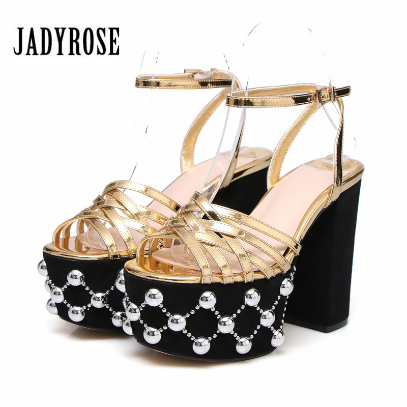 Jady Rose Gold Women Sandals 12CM Chunky High Heels Women Platform Pumps Summer Sandalias Mujer Prom Dress Shoes Woman
