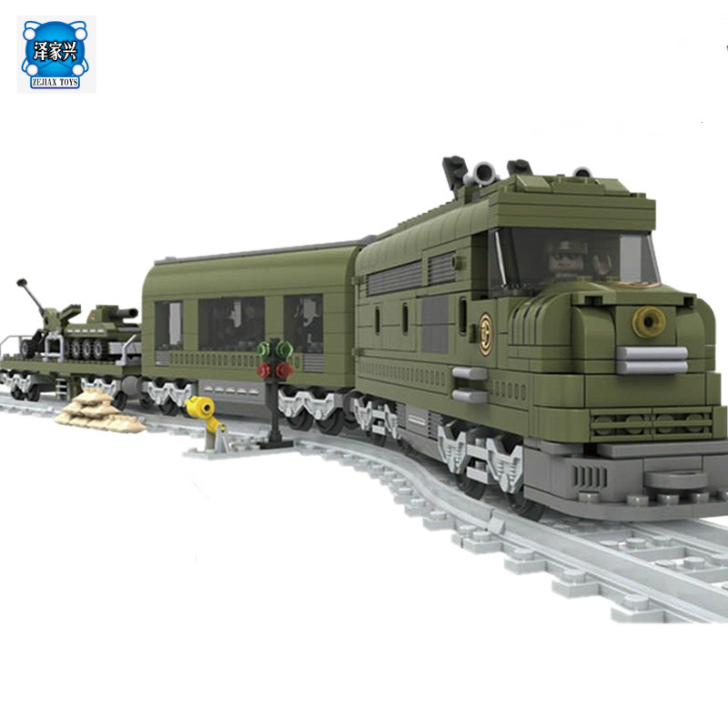 Model Building Kits Compatible with Lepins MILITARY TRAIN 764 Pcs 3D Blocks Educational Model Building Bricks Toys for Children enlighten building blocks military submarine model building blocks 382 pcs diy bricks educational playmobil toys for children