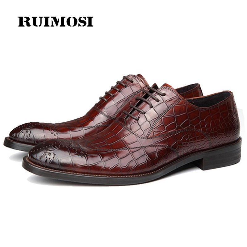 RUIMOSI Classic Crocodile Man Brogue Shoes Genuine Leather Male Formal Dress Oxfords Breathable Wedding Bridal Men's Flats GD36