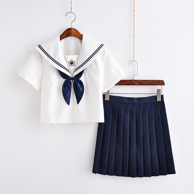 Sakura Dark Blue School Uniform Japan JK Uniform Class Uniforms Sailor Suit College Wind Suit Female Students Uniforms S-XXL