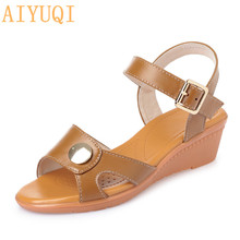 лучшая цена AIYUQI Women sandals genuine leather 2019 summer new female Roman sandals wedge lady sandals plus size 41 42 43 shoes women