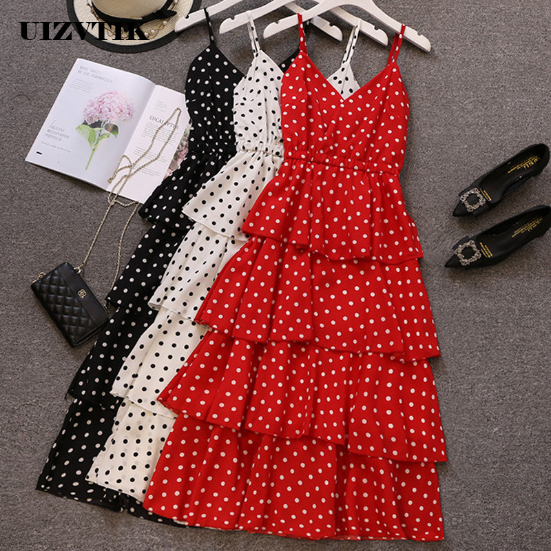 Chiffon Summer Dress Women 2019 Casual Plus Size A Line Dresses Elegant Sexy Long Party Dress White Dot Beach Bandage Sundress