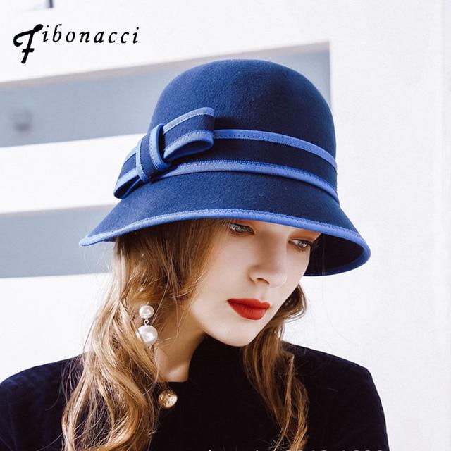Fibonacci 2017 Nuevo Otoño Invierno cúpula de las mujeres Fedora sombreros  elegante irregular ala sombrero de fieltro de lana para mujer 436b4a6471d