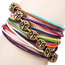Handmade Unisex Multilayer DIY Animal Beads Charm Leather Bracelets Fox/Owls/Butterflies/Insects Jewelry Wholesale