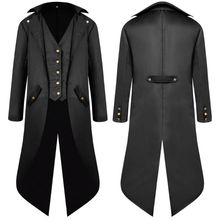 Chaqueta Steampunk victoriana de manga larga para hombre, abrigo gótico con botones y cola de golondrina, disfraz Vintage, uniforme de Halloween de mediana edad