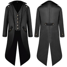 Men Long Sleeve Steampunk Victorian Jacket Gothic Button Swallow Tail Coat Cosplay Costume Vintage Middle Ages Halloween Uniform