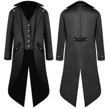 الرجال طويلة الأكمام Steampunk سترة الفيكتوري القوطية زر ابتلاع الذيل معطف تأثيري حلي خمر العصور الوسطى هالوين موحدة