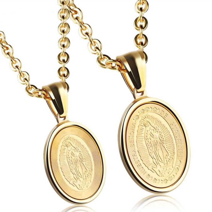 Stainless Steel Oval Religious Virgin Mary Tag Couple Necklace