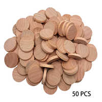 50 Pcs Wedding Art Children 5mm Ornaments Home Sewing Decoration DIY Craft Handmade Painting Toys Round Wood Slices