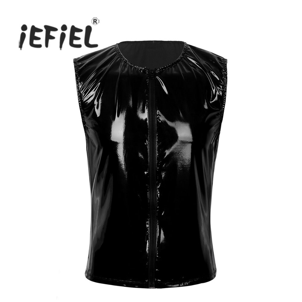 iEFiEL Fashion Mens Wet Look Patent Leather Sleeveless Front Zipper Slim   Tank     Top   Evening Party Vest Clubwear Stage Costumes