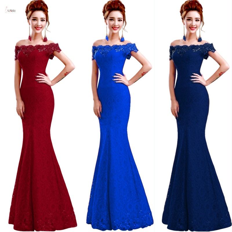 Long   Bridesmaid     Dresses   2019 Elegant Off The Shoulder Sleeveless Lace Mermaid Wedding Party Gown robe demoiselle d'honneur