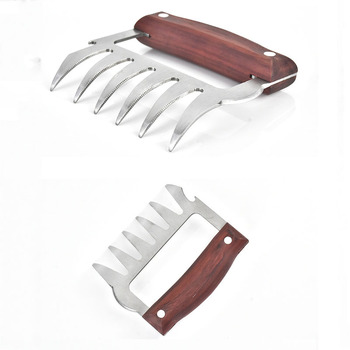 2 Pcs/Set Stainless Steel Bear Claw Wooden Handle Meat Divided Tearing Flesh Multifunction Meat Shred Pork Clamp BBQ Tool 8