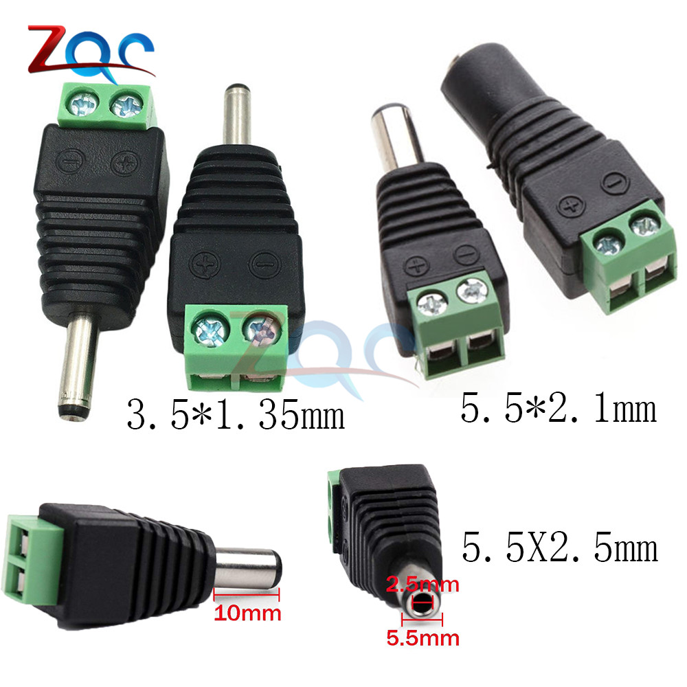 5PCS male and female <font><b>DC</b></font> <font><b>Power</b></font> plug 5.5x2.1MM 5.5x2.5MM 3.5x1.35MM 12V 24V Jack Adapter <font><b>Connector</b></font> Plug CCTV 2.1*<font><b>5.5mm</b></font> 2.5 1.35 image