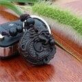 Nueva Moda Elegante Tallado de Ébano Negro Dragón Llavero Bolso de Cadena Encanto Llaveros con Anillo de Metal Clásico Coche de madera colgante