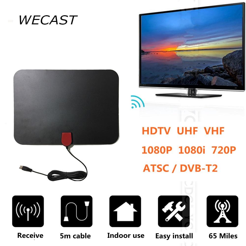 65 Miles Erhalt Indoor Dvb-t HDTV TV Antenne Receiver TV FUCHS Digital Analog Antenne HD Unterstützung ATSC/DVB-T2 VHF Uhf-antenne