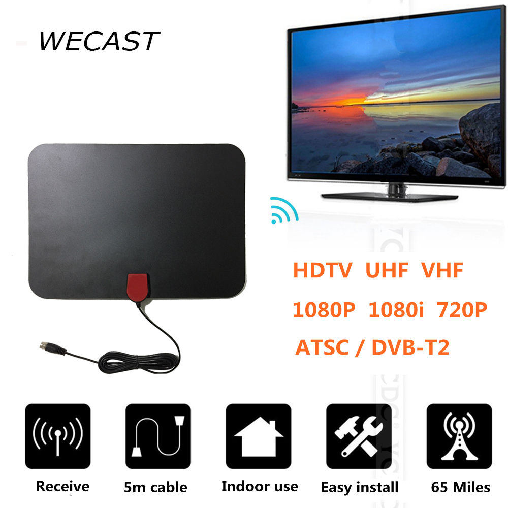65 Miles Receiving Indoor Freeview HDTV TV Antenna Receiver TV FOX Digital Analog Antenna HD Support ATSC/DVB-T2 VHF UHF Aerial