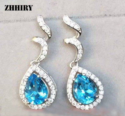 ZHHIRY Natural Blue Topaz Earring Genuine Solid 925 Sterling Silver Gem Earrings Women Stone Fine Jewelry Birthstone anniversary ring necklace earrings jewelry set natural aaa blue topaz stone birthstone woman fine 925 sterling silver jewelry