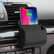 Ascromy 10W Titular Carregador de Carro Qi Sem Fio Para iPhone XS Max XR X 8 Plus Air Vent Telefone Couro saco de Caixa de armazenamento qi Carregamento Rápido