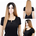 "24"" long straight blonde ombre wig false hair synthetic wigs for black women celebrity Christmas gift cheap wigs for black women"