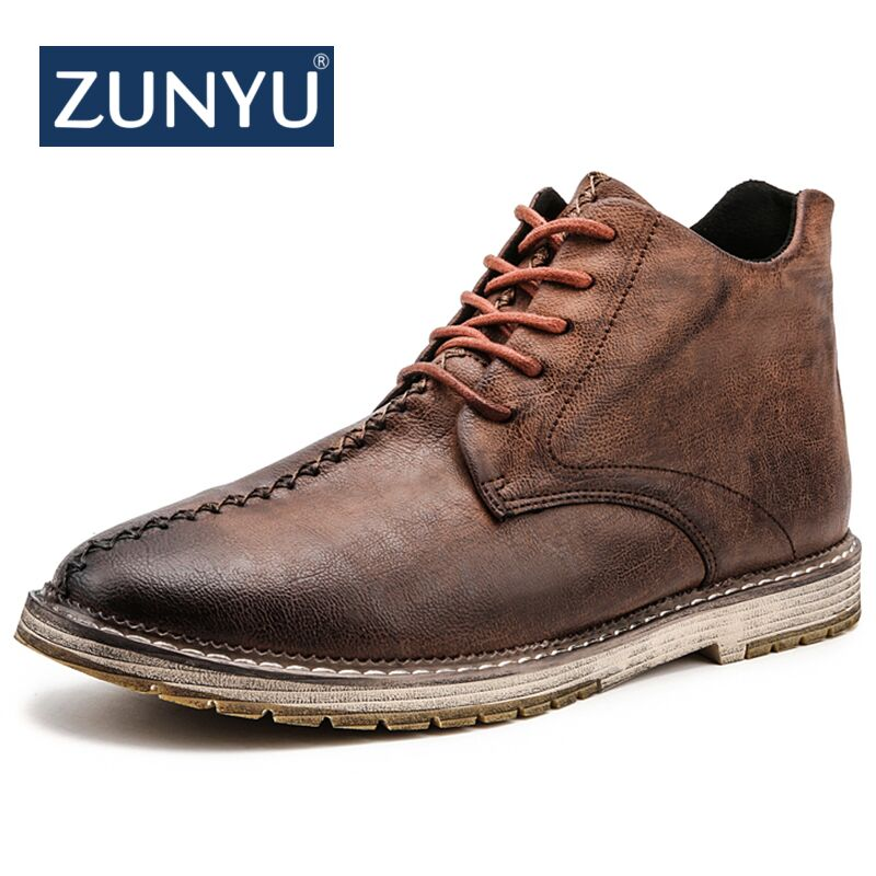 ZUNYU New Men Ankle Boots Breathable Men Leather Boots High Top Shoes Outdoor Casual Men Autumn Winter Shoes Plus Size 38-47 backcamel 2018 autumn winter new men s outdoor sports shoes high top non slip wear men boots high quality sneaker size 39 47