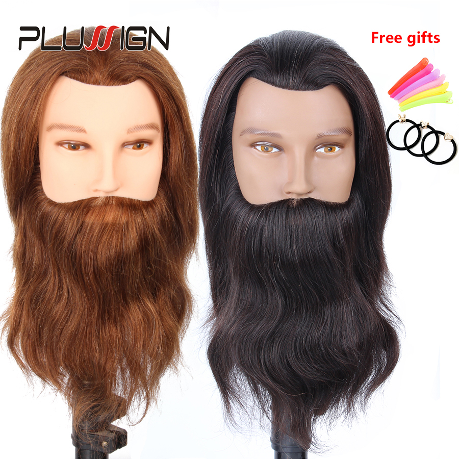 """Plussign 10"""" 100% Real Human Hair Training Doll Head Hairdressing Male Training Mannequin Head With Beard Hairdresser Dummy Head"""